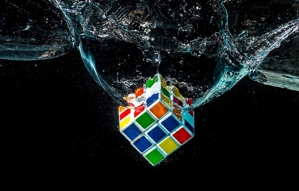 Picture water, macro, Rubik's cube, puzzle