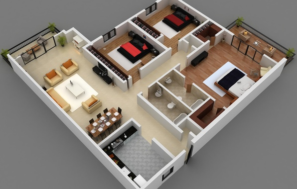 Picture house, apartment, flat