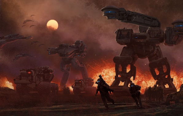 Picture the sun, the explosion, war, ships, technique, robots, soldiers, future, steve burg, Chagatai