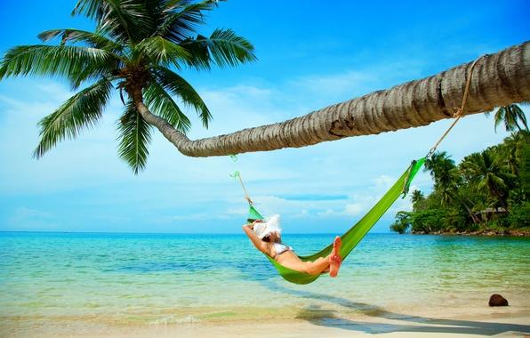 Picture sand, sea, beach, the sky, girl, Palma, hat, hammock