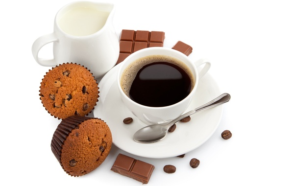 Picture coffee, chocolate, grain, Breakfast, milk, spoon, Cup, sweets, dessert, cakes, cupcakes