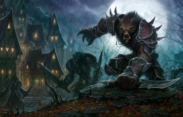 Picture night, weapons, fiction, home, fantasy, wolves, warriors, World-of-Warcraft