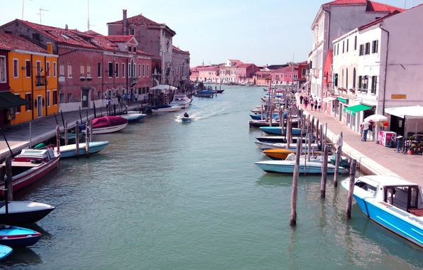 Picture the sky, home, boats, Italy, Venice, channel, the sidewalk, the island of Murano