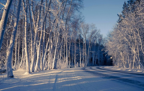 Wallpaper Snow Cold Widescreen Winter Road HD Wallpapers