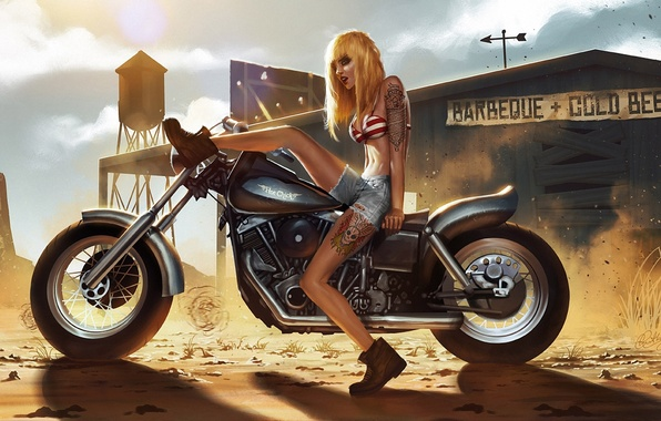 Picture sand, girl, the sun, shorts, dust, tattoo, art, motorcycle, tattoo, Unger