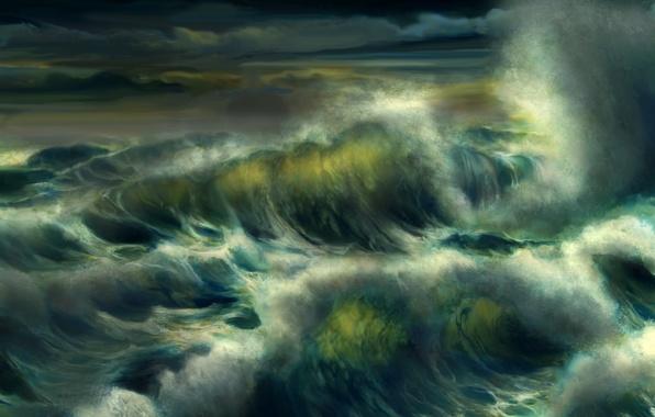 Picture sea, wave, foam, water, storm, the ocean, art