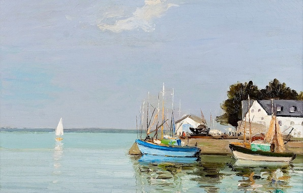 Picture house, boat, picture, Bay, sail, seascape, Brittany, Marseille Dif, Finistere, Loctudy