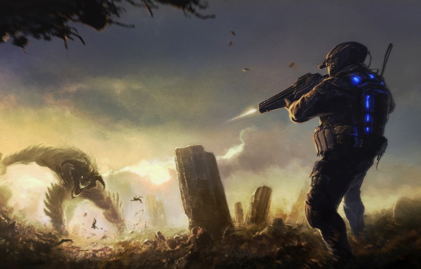 Picture weapons, monster, shot, the ruins, Soldiers, fight