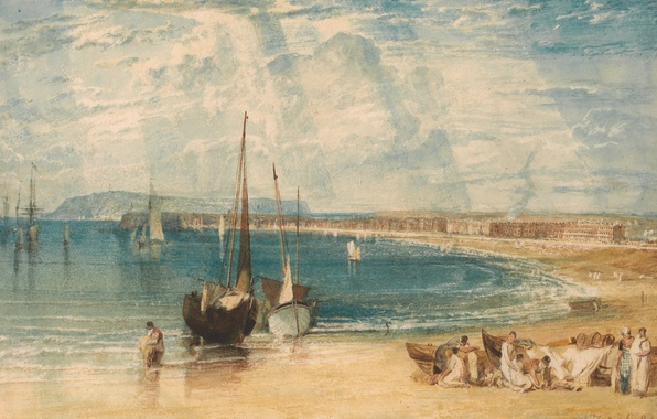 Picture sea, landscape, people, shore, picture, boats, watercolor, sail, William Turner, Weymouth