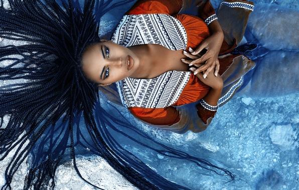 Picture girl, makeup, braids, sponge, Alessandro Di Cicco, Floe
