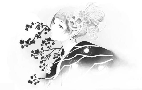 Picture girl, Sakura, kimono