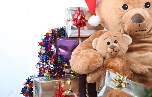 Picture holiday, box, toys, new year, Christmas, bear, gifts, christmas, new year, garland, bow, box