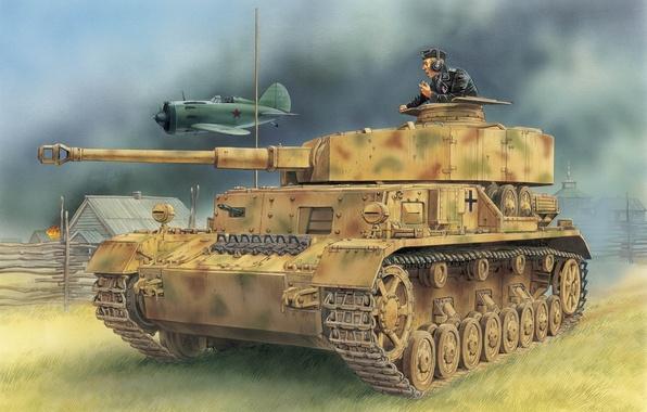 Picture the plane, figure, village, -16, the Wehrmacht, Panzer 4, medium tank, Panzerkampfwagen IV, T‑IV, Pz.Kpfw.IV …