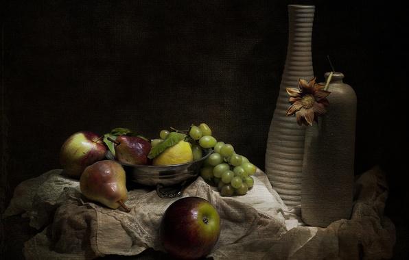 Picture retro, vase, fruit, still life, vintage