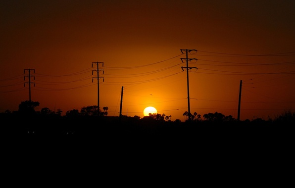 Picture the sun, sunset, posts, wire