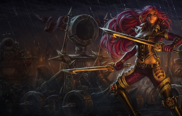 Picture girl, weapons, rain, sword, League of Legends, catapult