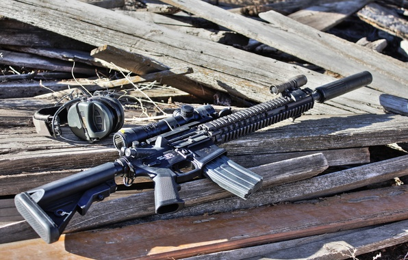 Picture weapons, headphones, rifle, sniper, SPR, MK12
