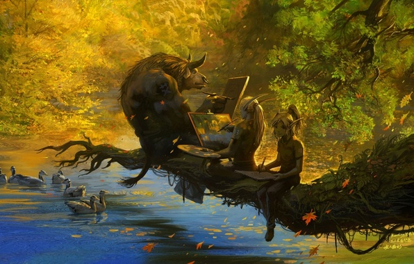Picture autumn, lake, branch, elves, WoW, World of Warcraft, falling leaves, Tauren, draw