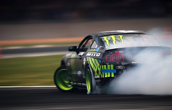 Picture Mustang, Ford, Green, Black, RTR, Monster Energy, Smoke, Team, Motion, Competition, Formula Drift, Sportcar, Vaughn …