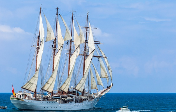 Picture sea, sailboat, boat, schooner, Juan Sebastian de Elcano