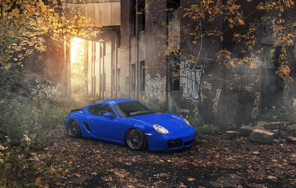 Picture car, blue, tuning, stance, Porsche Cayman, Evano Gucciardo, evog