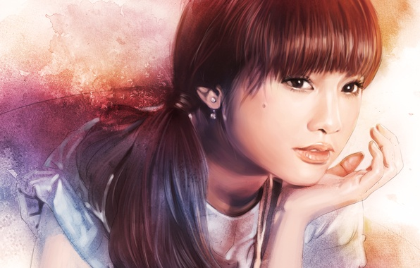 Picture eyes, look, girl, face, hair, hand, earrings, art, painting, ponytail, Rainie Yang