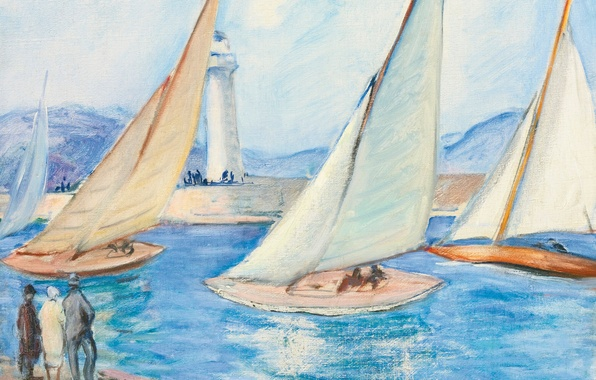 Picture sea, landscape, lighthouse, picture, yachts, sail, The start of the regatta in Saint-Tropez, Henri Lebacq