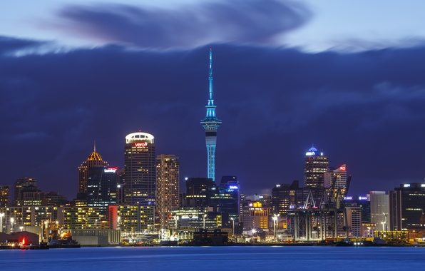 Picture the storm, the sky, night, clouds, city, the city, lights, skyscrapers, New Zealand, lighting, storm, …