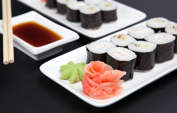 Picture sauce, sushi, Japanese cuisine, ginger
