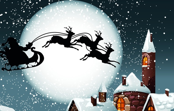 Picture snow, the moon, roof, gifts, sleigh, Santa Claus, deer, new year's eve