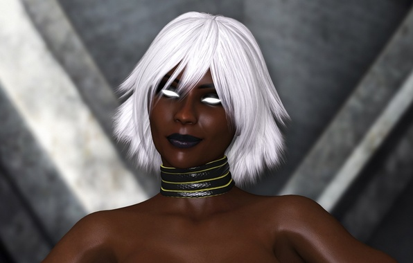 Picture girl, face, rendering, beauty, Storm, black, storm, X-Men, Afro, art, Marvel Comics, ororo munroe