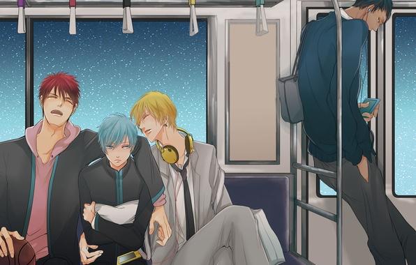 Picture the sky, stars, metro, anime, headphones, art, the car, guys, kuroko from basket, kuroko tetsuya, …