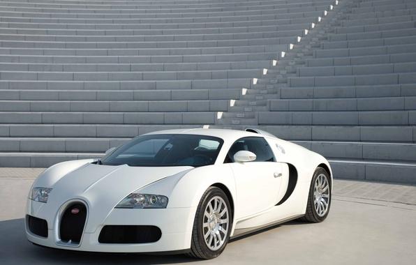 Picture white, stage, supercar, Bugatti Veyron, concrete, hypercar