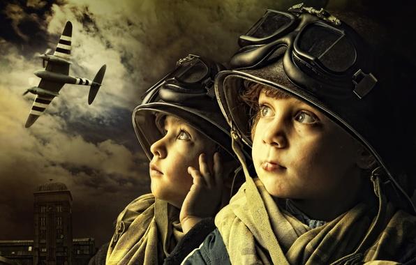 Picture children, glasses, helmet, the plane, boys