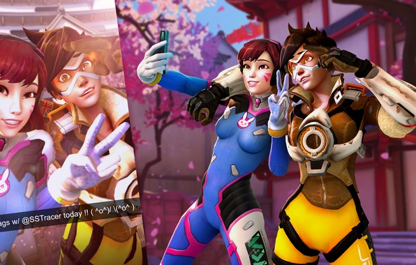 Picture photo, phone, blizzard, Tracer, overwatch, selfie, Lena Oxton, D.Va, Hana Song