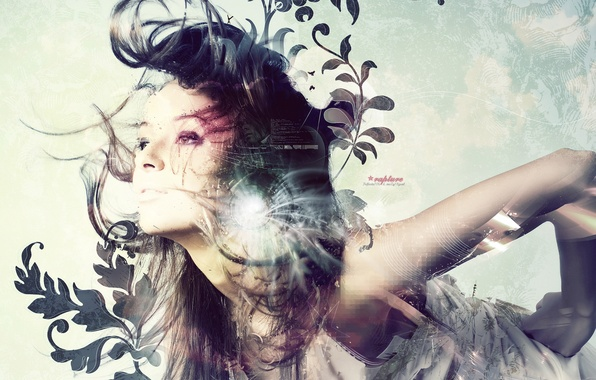 Picture look, girl, light, abstraction, face, hair, vector