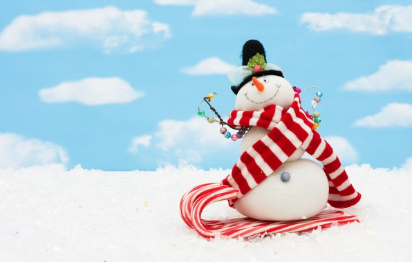 Picture the sky, clouds, snow, scarf, Christmas, New year, snowman, new year, Christmas, sky, clouds, snow, …