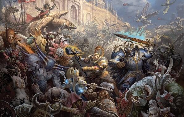 Picture castle, war, magic, elves, battle, Warhammer, chaos, warriors, storm, orcs, Empire, dwarves, mages, siege, griffins, …