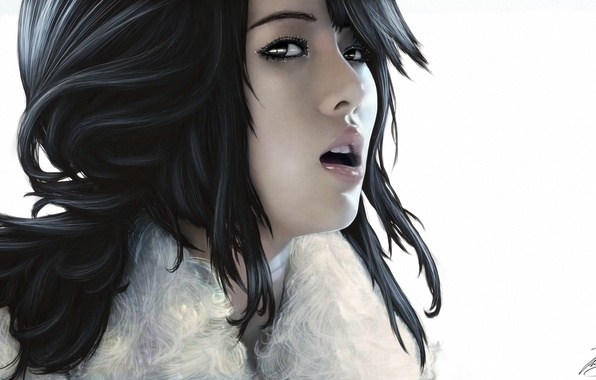 Picture art, white background, singer, Asian, South Korea, Hyuna Kim
