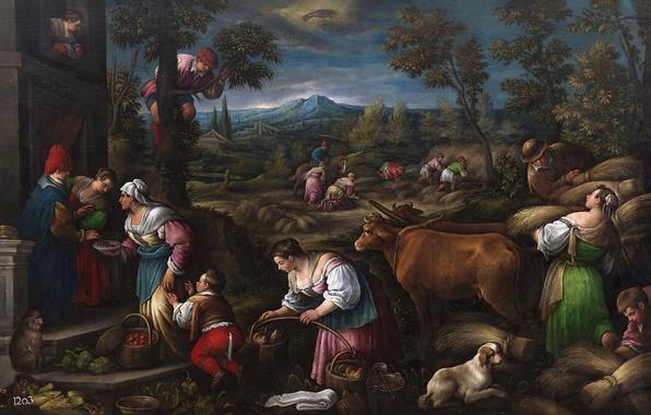 Picture animals, landscape, mountains, people, picture, May, genre, Francesco Bassano