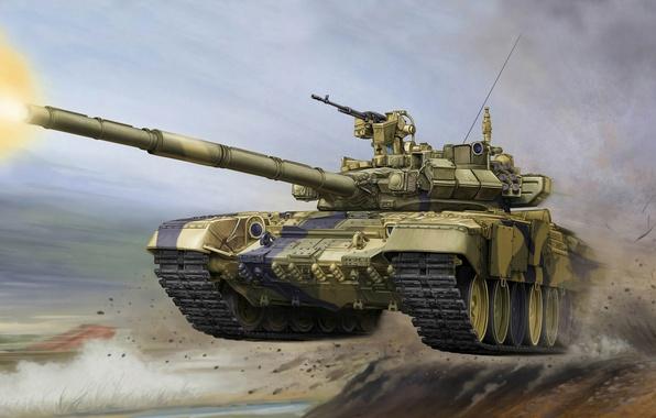 Picture jump, gun, shot, art, tank, polygon, combat, exercises, Russian, caliber, main, 125 mm, overcoming, obstacles, …