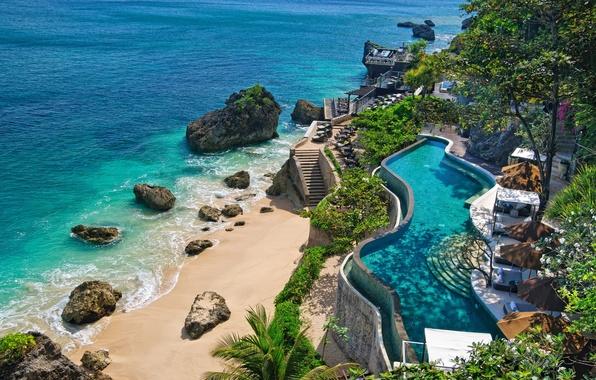 Picture sea, beach, the ocean, coast, pool, Bali, Indonesia, stones., nature, sunbeds, pools, Bali, Indonesia