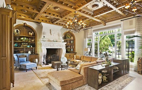 Wallpaper living room home villa luxury images for for Living room 640x1136