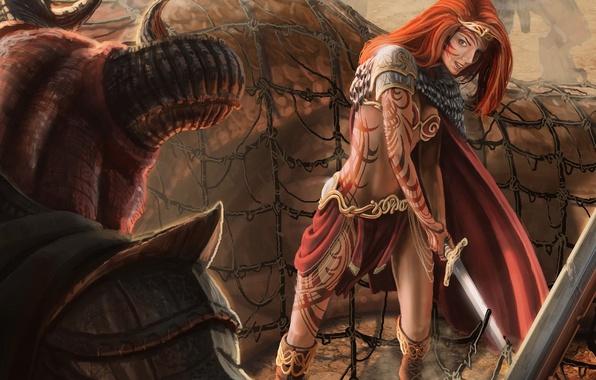 Picture girl, mesh, pattern, monster, sword, tattoo, art, horns, red, Diadema, Jon Hrubesch