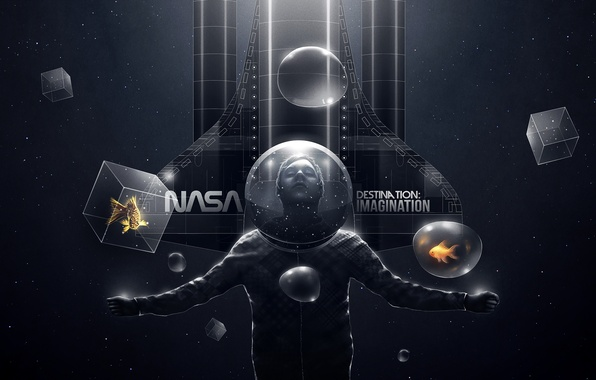 Picture creative, people, ship, fish, fish, the suit, art, cube, bubble, nasa, destination, imagination