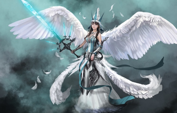 Picture girl, weapons, fiction, wings, angel, sword, feathers, art, angel