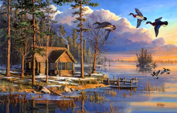 Picture house, forest, flying, lake, sunrise, painting, spring, Mary Pettis, ducks, Spring Arrivals