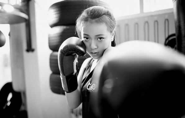 Picture girl, sport, Boxing