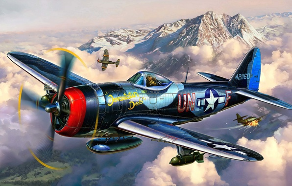 Picture the plane, fighter, battle, art, artist, air, USA, bomber, BBC, Thunderbolt, P-47, WW2, Republic, the ...