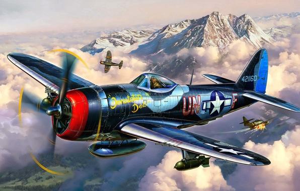Picture the plane, fighter, battle, art, artist, air, USA, bomber, BBC, Thunderbolt, P-47, WW2, Republic, the …